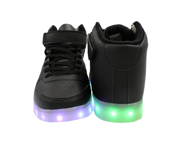 Galaxy LED Shoes Light Up USB Charging High Top Men/Women Sneakers (Black)