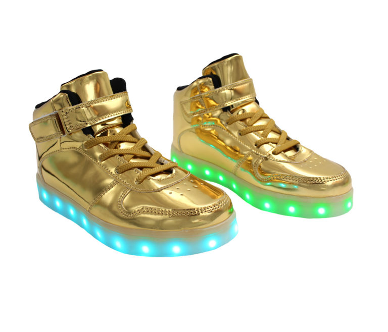 Galaxy LED Shoes Light Up USB Charging High Top Lace & Strap Kids Sneakers (Gold Glossy)