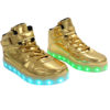 Galaxy LED Shoes Light Up USB Charging High Top Strap & Lace Men's Sneakers (Gold Glossy) 2