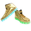 Galaxy LED Shoes Light Up USB Charging High Top Strap & Lace Men's Sneakers (Gold Glossy) 4