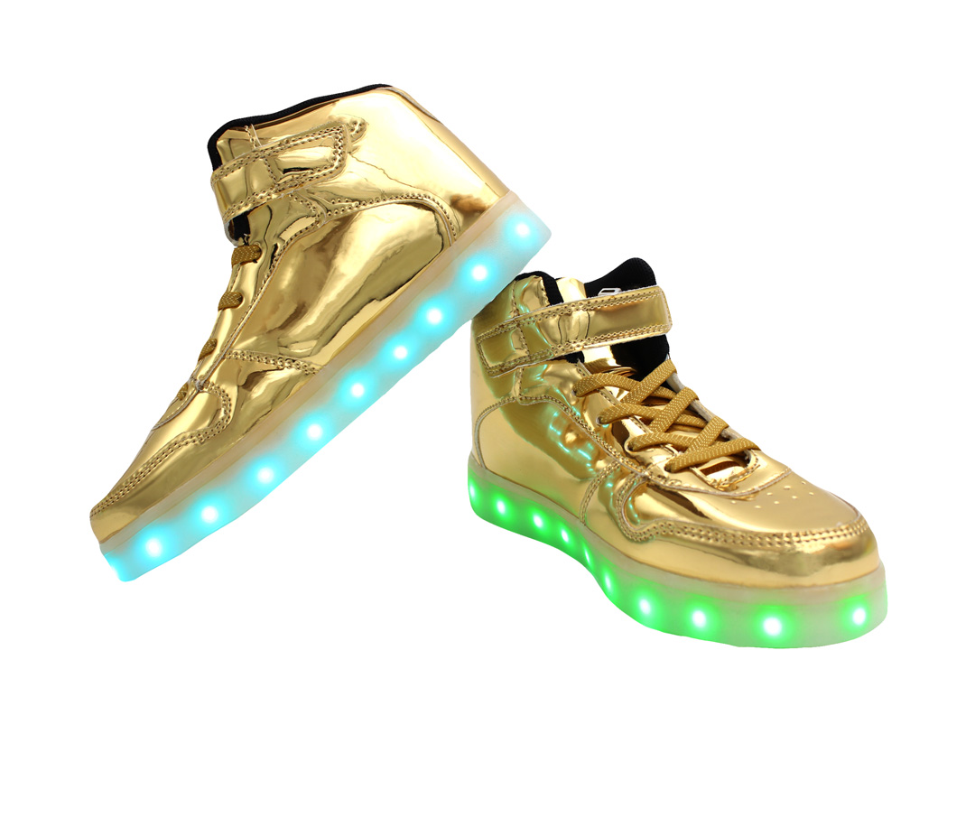 3115807ec6fb6 Galaxy LED Shoes Light Up USB Charging High Top Strap & Lace Men's Sneakers  (Gold Glossy)