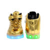 Galaxy LED Shoes Light Up USB Charging High Top Lace & Strap Kids Sneakers (Gold Glossy) 2