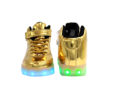 Galaxy LED Shoes Light Up USB Charging High Top Strap & Lace Men's Sneakers (Gold Glossy) 3