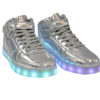 Galaxy LED Shoes Light Up USB Charging High Top Lace & Strap Kids Sneakers (Silver Glossy) 2