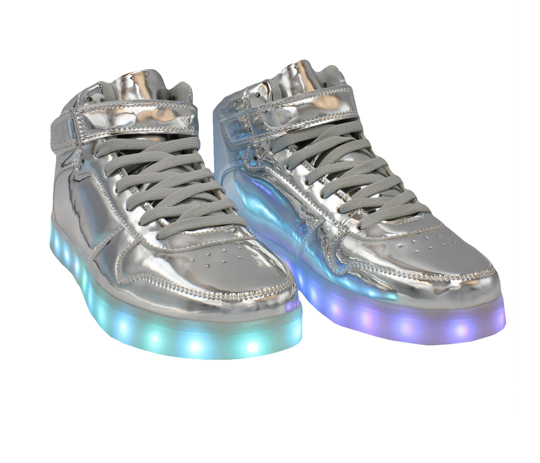 1ed2879d33fbf Galaxy LED Shoes Light Up USB Charging High Top Lace & Strap Kids Sneakers  (Silver Glossy)