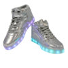 Galaxy LED Shoes Light Up USB Charging High Top Lace & Strap Kids Sneakers (Silver Glossy) 4