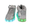 Galaxy LED Shoes Light Up USB Charging High Top Lace & Strap Kids Sneakers (Silver Glossy) 3