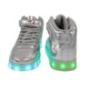 Galaxy LED Shoes Light Up USB Charging High Top Lace & Strap Men's Sneakers (Silver Glossy) 4