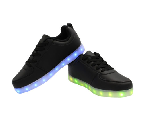 Galaxy LED Shoes Light Up USB Charging Low Top Kids Sneakers (Black)