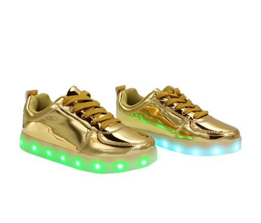 Galaxy LED Shoes Light Up USB Charging Low Top Kids Sneakers (Gold Glossy)