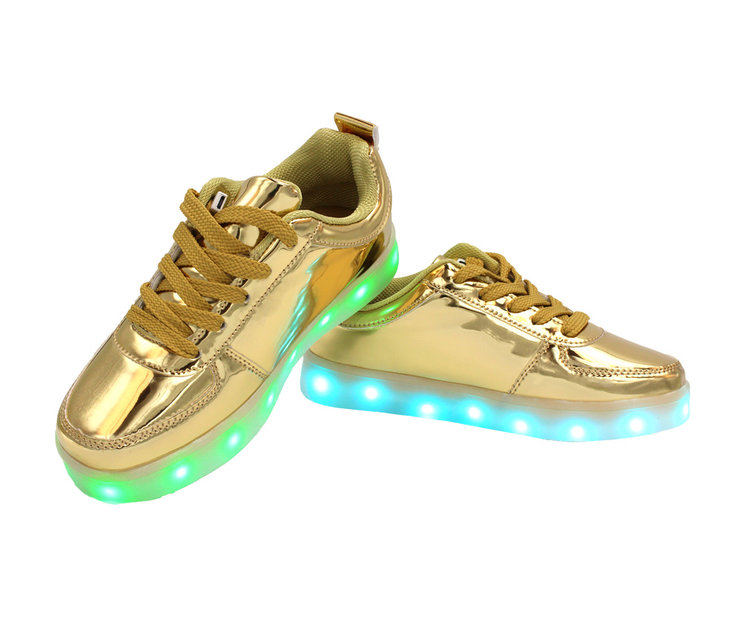 Galaxy LED Shoes Light Up USB Charging Low Top Kids Sneakers (Gold Glossy) 37f67c9af