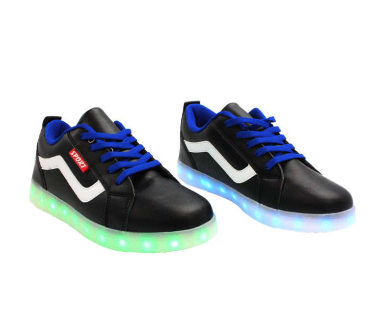 Galaxy LED Shoes Light Up USB Charging Low Top Wave Adult Sneakers (Black)
