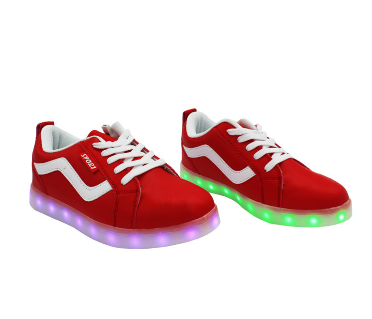 Galaxy LED Shoes Light Up USB Charging Low Top Wave Adult Sneakers (Red)