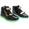 Galaxy LED Shoes Light Up USB Charging High Top Plated Lace & Strap Adult Sneakers (Black Glossy/Gold) 2