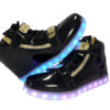 Galaxy LED Shoes Light Up USB Charging High Top Plated Lace & Strap Adult Sneakers (Black Glossy/Gold) 5