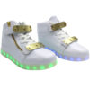 Galaxy LED Shoes Light Up USB Charging High Top Plated Lace & Strap Adult Sneakers (White Glossy/Gold) 4