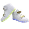Galaxy LED Shoes Light Up USB Charging High Top Plated Lace & Strap Adult Sneakers (White Glossy/Gold) 3