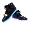 Galaxy LED Shoes Light Up USB Charging High Top Plated Lace & Strap Adult Sneakers (Black Glossy/Gold) 3