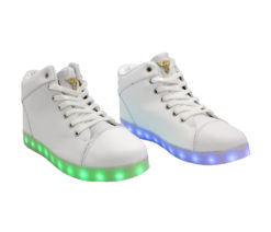 Galaxy LED Shoes Light Up USB Charging High Top Angel Lace & Strap (White)