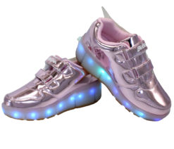 Galaxy LED Shoes Light Up USB Charging Rolling Wings Kids Sneakers (Pink Glossy)