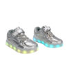 Galaxy LED Shoes Light Up USB Charging Low Top Lace & Strap Kids Sneakers (Silver Glossy) 2