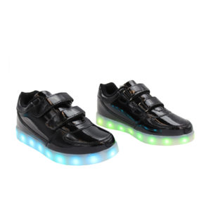 Galaxy LED Shoes Light Up USB Charging Low Top Straps Kids Sneakers (Black Glossy)