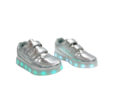 Galaxy LED Shoes Light Up USB Charging Low Top Straps Kids Sneakers (Silver Glossy) 2