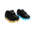Galaxy LED Shoes Light Up USB Charging Low Top Strap Kids Sneakers (Black) 2