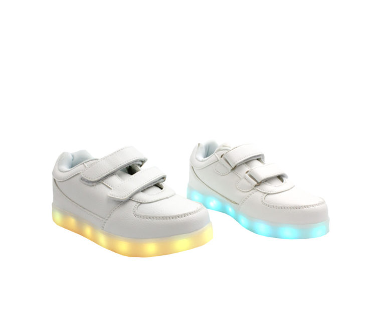 Galaxy LED Shoes Light Up USB Charging Low Top Strap Kids Sneakers (White)