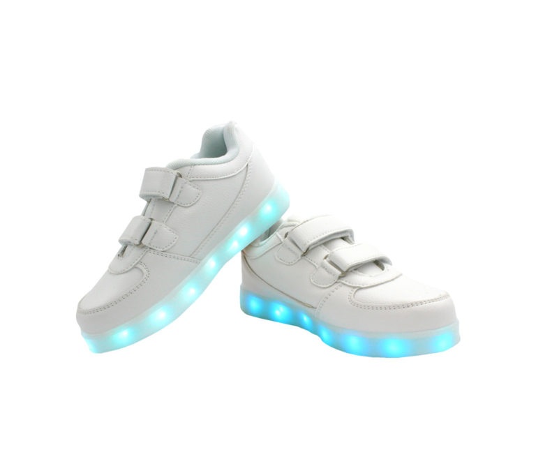Galaxy LED Shoes Light Up USB Charging Low Top Straps Kids Sneakers (White)