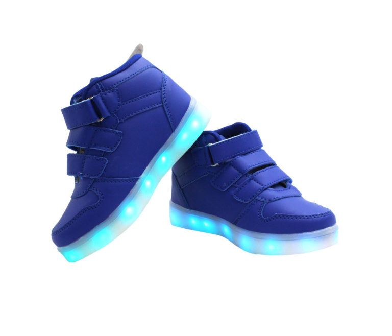 Galaxy LED Shoes Light Up USB Charging High Top Wings Kids Sneakers (Blue)
