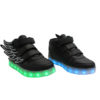 Galaxy LED Shoes Light Up USB Charging High Top Wings Kids Sneakers (Black) 2