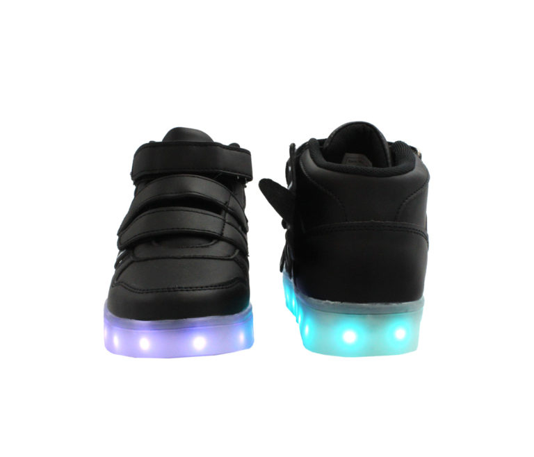 Galaxy LED Shoes Light Up USB Charging High Top Wings Kids Sneakers (Black)