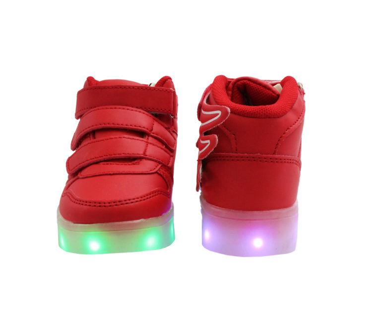 Galaxy LED Shoes Light Up USB Charging High Top Wings Kids Sneakers (Red)