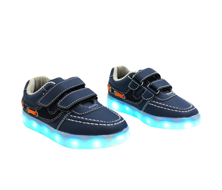 Galaxy LED Shoes Light Up USB Charging Low Top Boat Strap Kids Sneakers (Blue)
