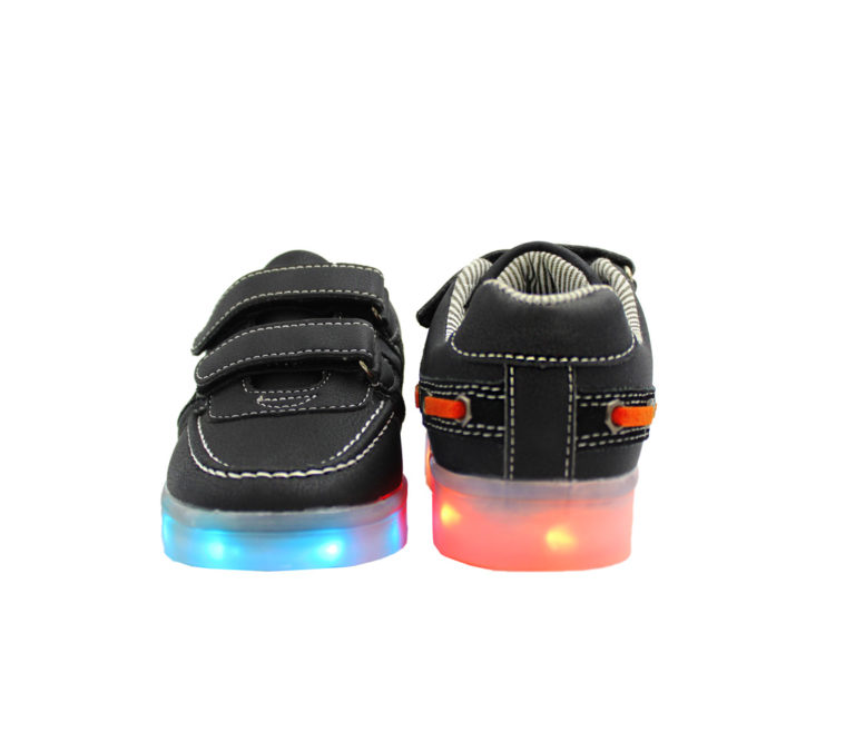Galaxy LED Shoes Light Up USB Charging Low Top Boat Strap Kids Sneakers (Black)