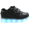 Galaxy LED Shoes Light Up USB Charging Low Top Strap Kids Sneakers (Black)