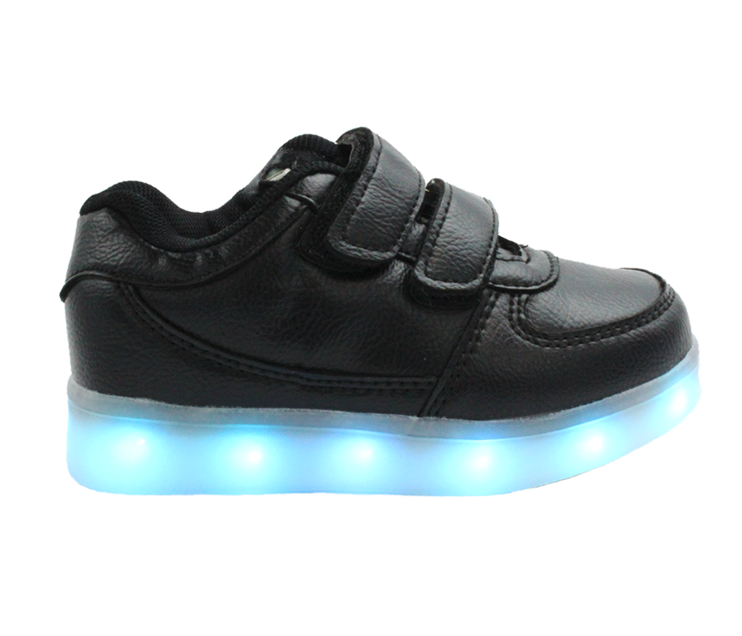 44d95843b5a1 Galaxy LED Shoes Light Up USB Charging Low Top Strap Kids Sneakers (Black)
