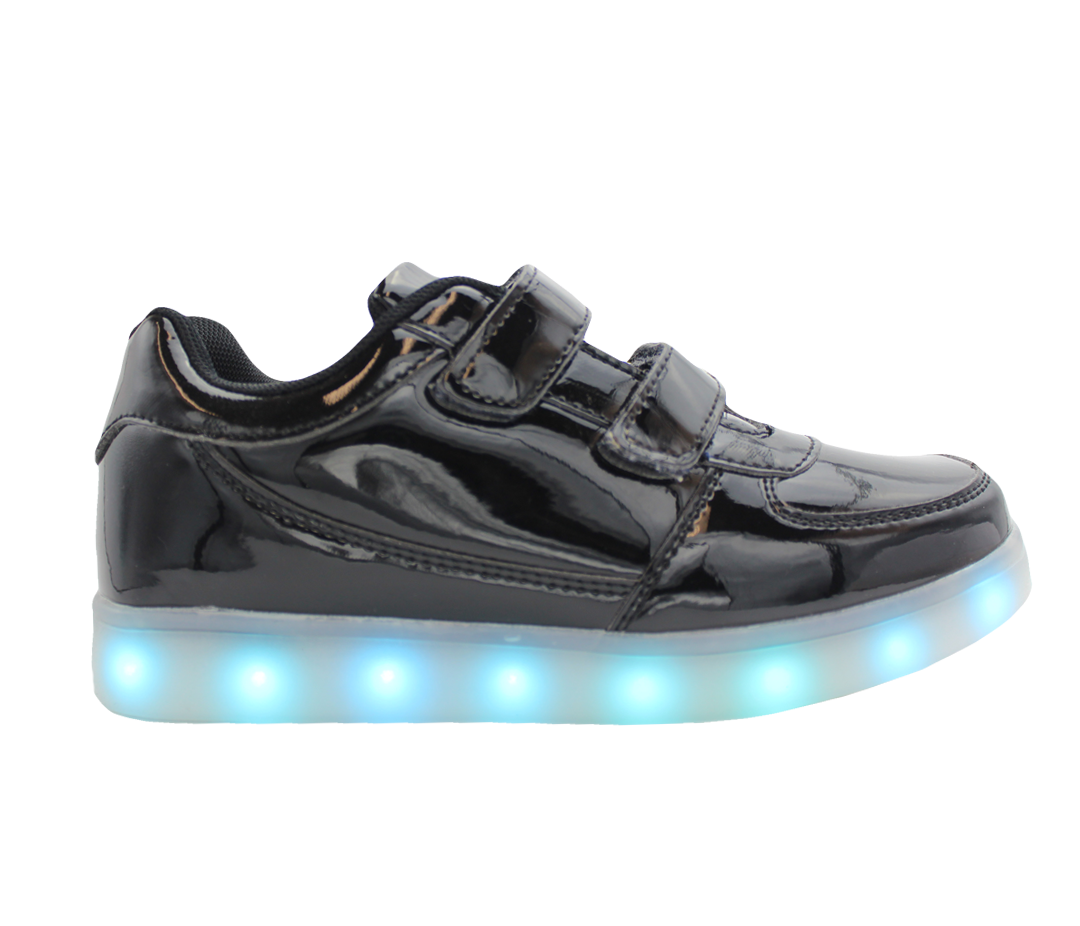 b36af7fa602d Galaxy LED Shoes Light Up USB Charging Low Top Straps Kids Sneakers (Black  Glossy)