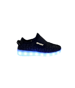 Galaxy LED Shoes Light Up USB Charging Low Top Sport Knit Kids Sneakers (Black)