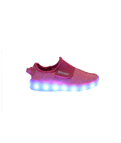 Galaxy LED Shoes Light Up USB Charging Low Top Sport Knit Kids Sneakers (Pink)