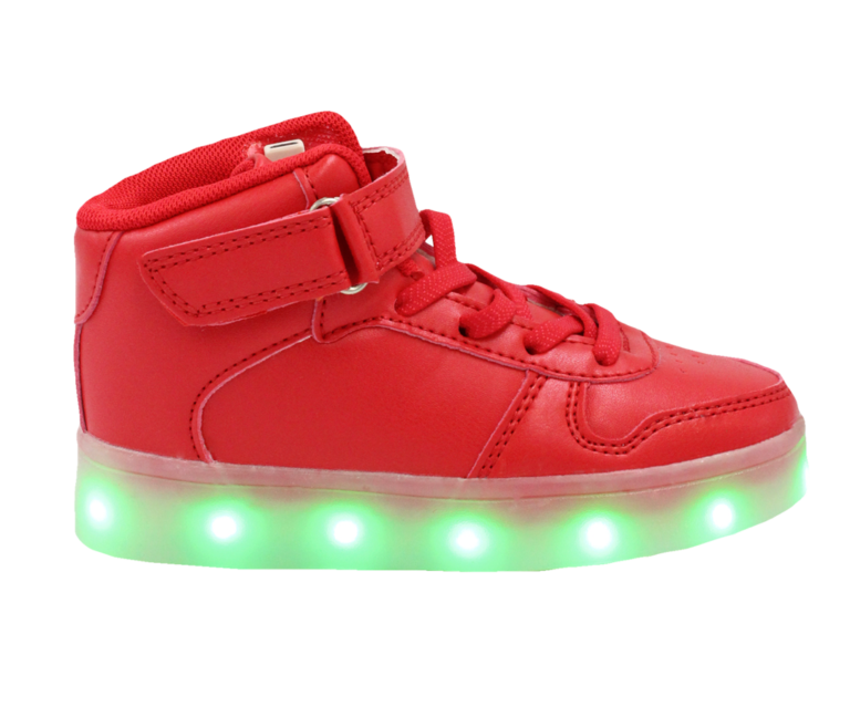 Galaxy LED Shoes Light Up USB Charging High Top Lace & Strap Kids Sneakers (Red)