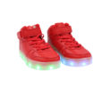 Galaxy LED Shoes Light Up USB Charging High Top Lace & Strap Kids Sneakers (Red) 2