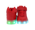 Galaxy LED Shoes Light Up USB Charging High Top Lace & Strap Kids Sneakers (Red) 4