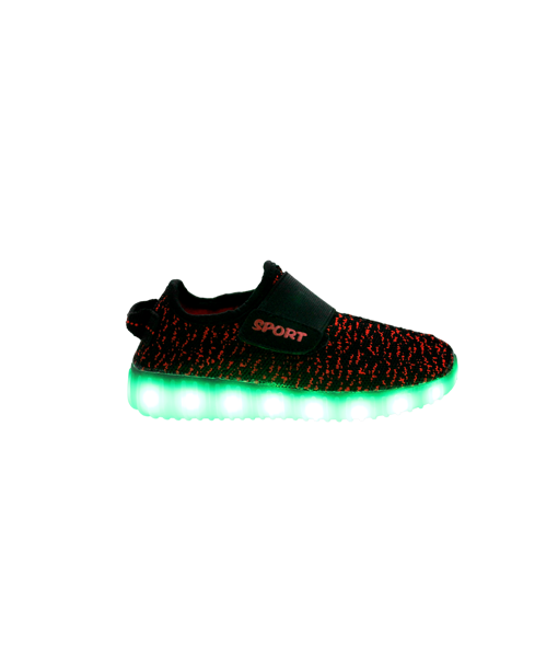 Galaxy LED Shoes Light Up USB Charging Low Top Sport Knit Kids Sneakers (Black/Red)