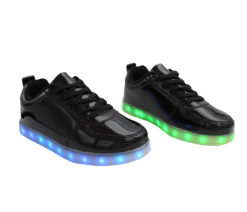 Galaxy LED Shoes Light Up USB Charging Low Top Women's Sneakers (Black Glossy)