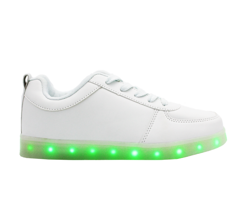 Galaxy LED Shoes Light Up USB Charging Low Top Kids Sneakers (White)