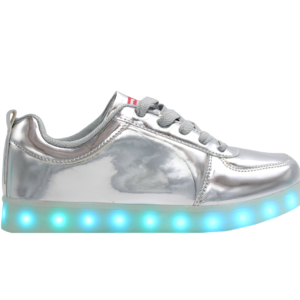 Galaxy LED Shoes Light Up USB Charging High Top Adult Sneakers (Silver Glossy)