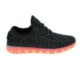 Galaxy LED Shoes Light Up USB Charging Low Top Knit Men Sneakers (Black)