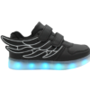 Galaxy LED Shoes Light Up USB Charging Low Top Wings Kids Sneakers (Black)